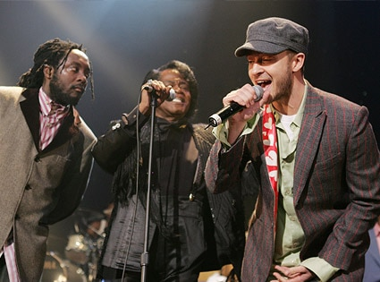 Will i Am, James Brown, and Justin Timberlake
