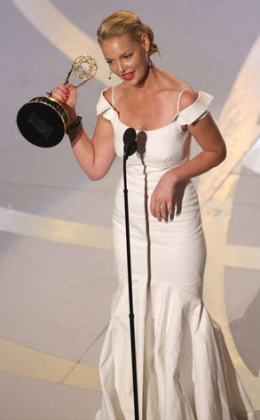 Katherine Heigl with an Emmy