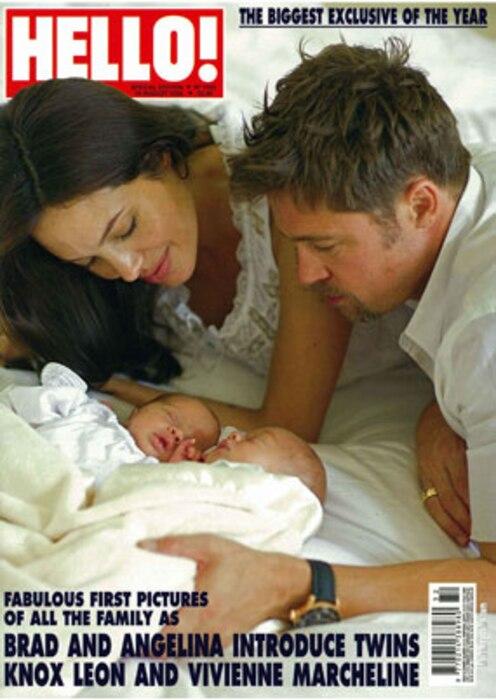 Angelina Jolie, Brad Pitt, Twins, Hello Magazine