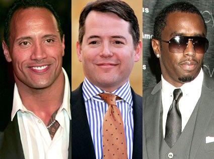 "Dwayne ""The Rock"" Johnson, Matthew Broderick, Sean ""Diddy"" Combs"