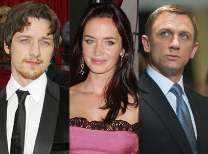James McAvoy, Emily Blunt and Daniel Craig as Bond