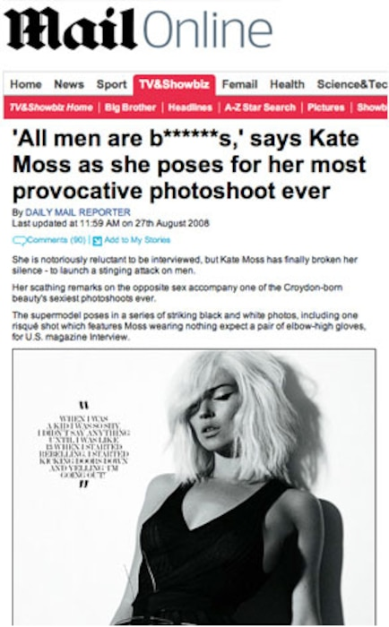 Kate Moss, Daily Mail