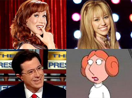 Kathy Griffin, Stephen Colbert, Miley Cyrus, Family Guy