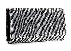 Betsey Johnson Zebra Sequin Clutch