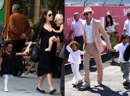 Angelina Jolie, Zahara Jolie-Pitt, Shiloh Jolie-Pitt, Brad Pitt, Maddox Jolie-Pitt, Pax Jolie-Pitt