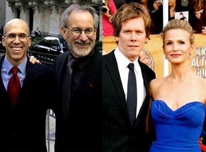 Steven Spielberg, Jeffrey Katzenberg, Kevin Bacon, Kyra Sedgwick
