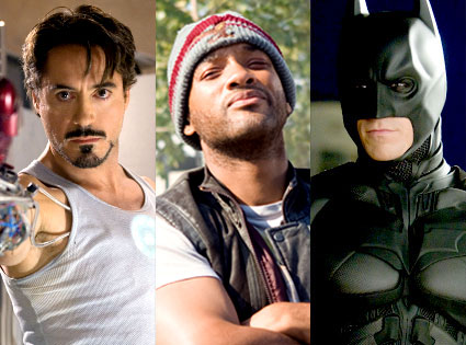 Will Smith, Hancock, Robert Downey Jr, Iron Man, Christian Bale, The Dark Knight