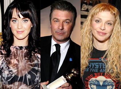 Katy Perry, Alec Baldwin, Courtney Love