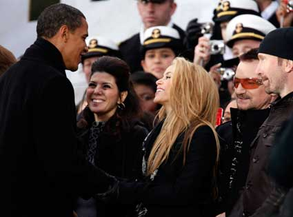 Shakira, Marisa Tomei, Barack Obama, Bono, The Edge, U2