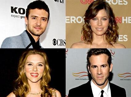 Justin Timberlake, Jessica Biel, Scarlett Johansson, Ryan Reynolds