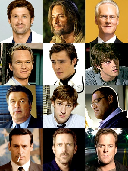 Patrick Dempsey (Grey's Anatomy), Josh Holloway (Lost), Tim Gunn (Project Runway), Neil Patrick Harris (How I Met Your Mother), Ed Westwick (Gossip Girl), Jared Padalecki (Supernatural), Alec Baldwin (30 Rock), John Krasinski (The Office), Laurence Fishburne (CSI), Jon Hamm (Mad Men), Hugh Laurie (House), Kiefer Sutherland (24)