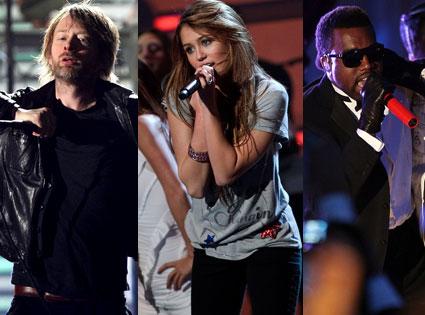 Thom Yorke, Miley Cyrus, Kanye West