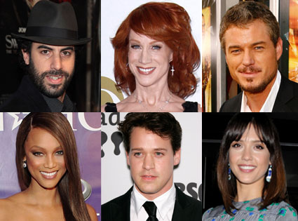 Jessica Alba, Sasha Baron Cohen, TR Knight, Eric Dane, Tyra Banks, Kathy Griffin