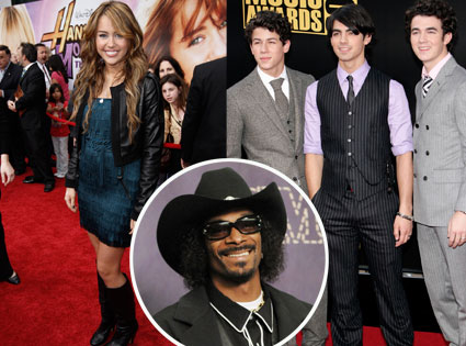 Miley Cyrus, Snoop Dogg, Kevin Jonas, Joe Jonas, Nick Jonas