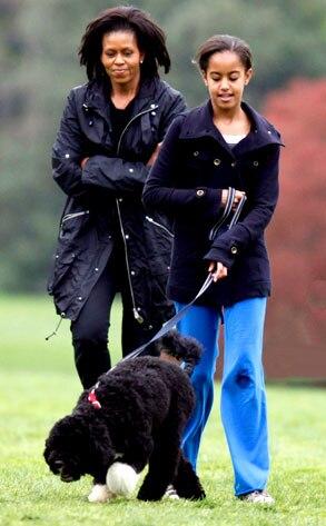 Michelle Obama, Malia Obama, Bo