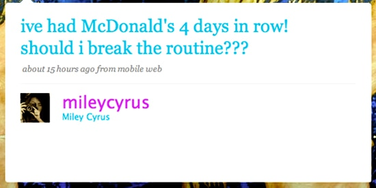 Miley Cyrus' Twitter page