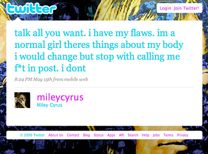 Miley Cyrus Twitter Page