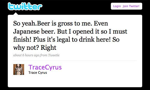 Trace Cyrus Twitter Page