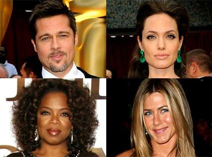 Brad Pitt, Angelina Jolie, Oprah Winfrey, Jennifer Aniston