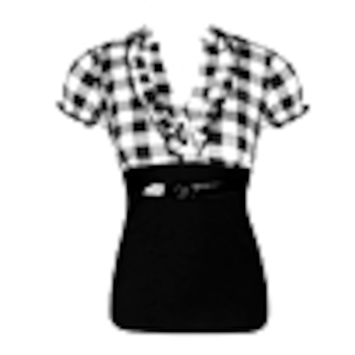 Go Jane Belted Checker Print Ruffle Top