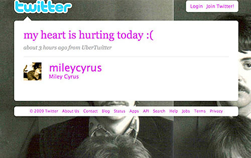 Miley Cyrus, Twitter Page