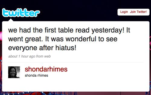 Shonda Rhimes' Twitter Page