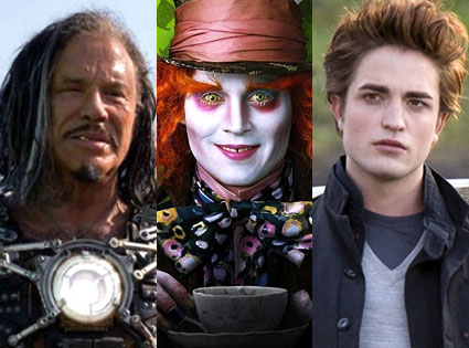 Mickey Rourke (Iron Man 2), Johnny Depp (Alice in Wonderland), Robert Pattinson (Twilight)