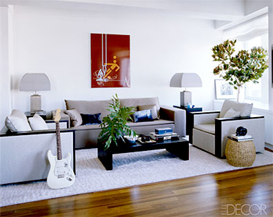 John Mayer, Living Room, Elle Decor Magazine
