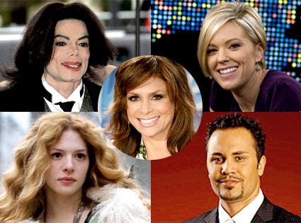 Michael Jackson, Kate Gosselin, Rachelle Lefevre, Ryan Jenkins, Paula Abdul
