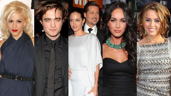 Gwen Stefani, Rob Pattinson, Angelina Jolie, Brad Pitt, Megan Fox, Miley Cyrus