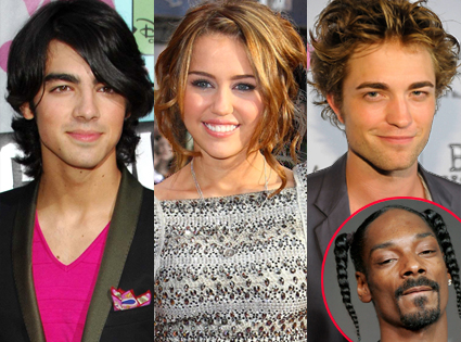 Joe Jonas, Miley Cyrus, Robert Pattinson, Snoop Dogg