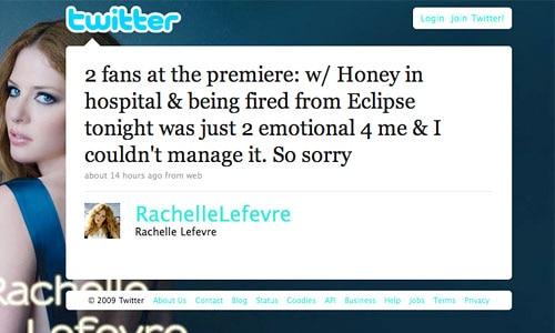 Rachelle Lefevre, Twitter