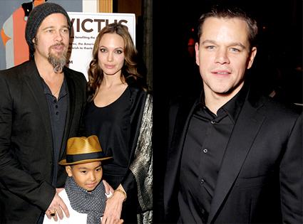 Brad Pitt, Angelina Jolie, Maddox Jolie PItt, Matt Damon