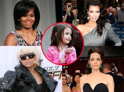 Michelle Obama, Kim Kardashian, Lady Gaga, Angelina Jolie, Suri Cruise