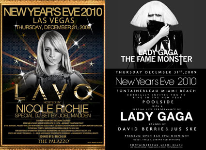 Lady Gaga, Nicole Richie, New Years Eve Invites