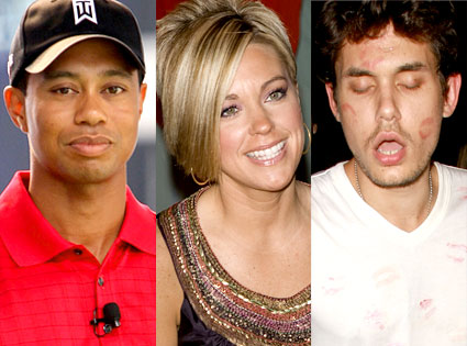 Tiger Woods, Kate Gosselin, John Mayer