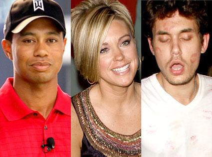 Tiger Woods, Kate Gosselin, John Mayer