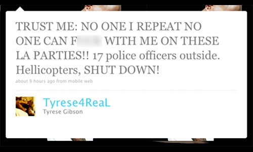 Tyrese Gibson, Twitter