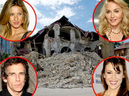 Haiti Earthquake, Gisele Bundchen, Madonna, Ben Stiller, Alyssa Milano