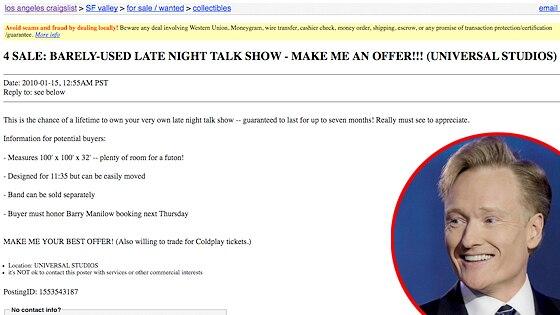Conan O'Brien, Craigslist Ad