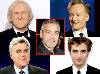 James Cameron, Conan O'Brien, Jay Leno, Robert Pattinson, George Clooney