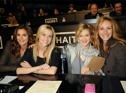 Cindy Crawford, Reese Witherspoon, Drew Barrymore, Julia Roberts, Telethon