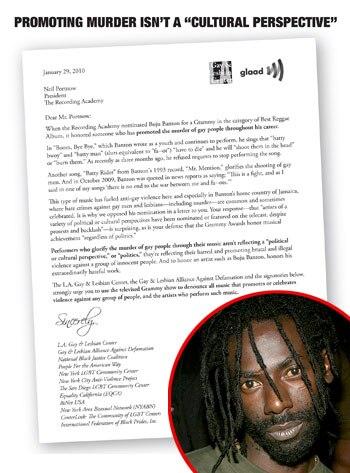 GLAAD Letter, Buju Banton