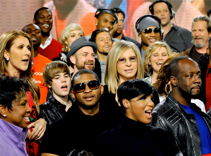 Celine Dion, Gladys Knight, Justin Bieber, Usher, Kristian Bush, Barbra Streisand, LL Cool J, Harry Connick Jr., Wyclef Jean, Vince Vaughn, Jeff Bridges, Toni Braxton, We are the World