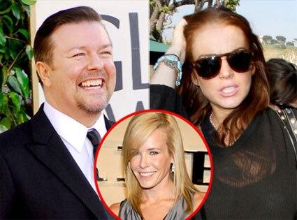 Ricky Gervais, Lindsay Lohan, Chelsea Handler
