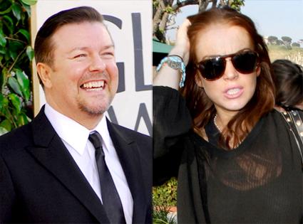 Ricky Gervais, Lindsay Lohan