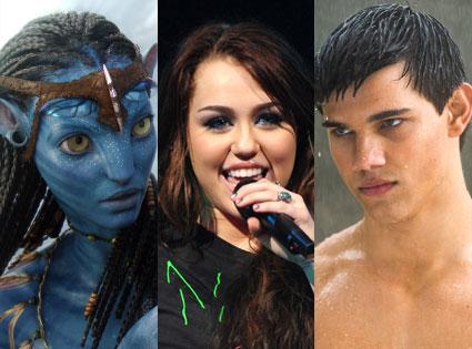 Avatar, Miley Cyrus, Taylor Lautner, New Moon