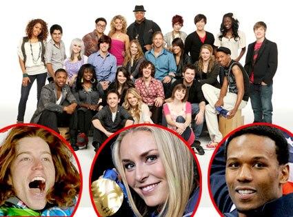 American Idol, Top 24, Shawn White, Lindsay Vonn, Shani Davis