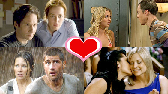 TV Couples We Love, David Duchovny, Gillian Anderson, The X-Files, Sara Ramirez, Jessica Capshaw, Grey's Anatomy, Matthew Fox, Evangeline Lilly, Lost, Jim Parsons, Kaley Cuoco, The Big Bang Theory