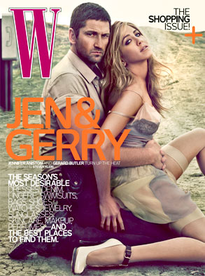 Gerard Butler, Jennifer Aniston, W Cover
